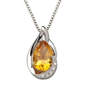 Sterling Silver .01 cttw Diamond and Citrine 18-Inch Chain Pear-Shape Pendant Necklace