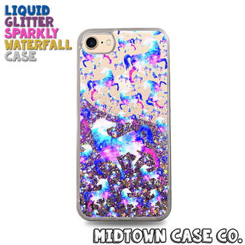 Unicorn Universe Galaxy Stars Pattern Fab Cute Liquid Glitter Waterfall Quicksand Sparkles Glitter Bomb Bling Case for iPhone 7 7 Plus 6s 6
