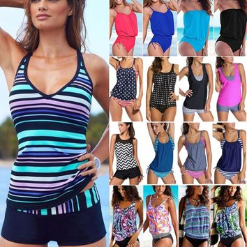 Women Tankini Bikini Set Push Up Padded Swimwear Bathing Suit Plus Size Swimsuit