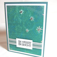 Christmas Card - Holiday Card - Hand Stamped - Vibrant Teal and Silver - Blank Card - Silver Accents - Merry and Bright
