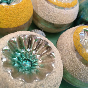 Set of Six Shiny Brite Green and Yellow Christmas Ornaments