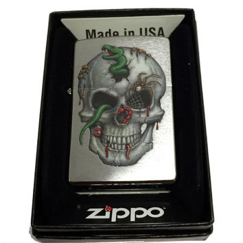 Zippo Custom Lighter - Skull with Snake, Worms and Spider - Regular Brush Finish Chrome 200CI016028