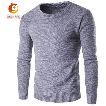 Autumn Mens Sweaters 80% Cotton 20% Wool Gray Color Knitted Brand Clothing Man's Knitwear Pullovers Knitting Plus Size Tops