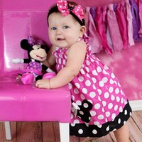 Girls First Birthday Dress, Minnie Mouse Birthday Dress, Girls Dresses, Minnie Mouse Dress Pink or Red