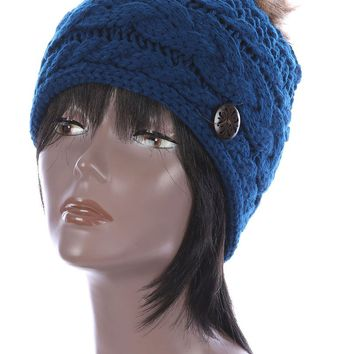 Navy Blue Faux Fur Pom Pom Cable Knit Winter Beanie Hat And Cap