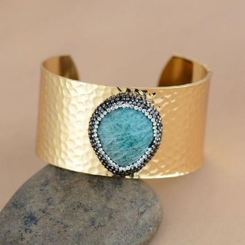 Luxury Cuff Bracelet with Crystals and Natural Stones