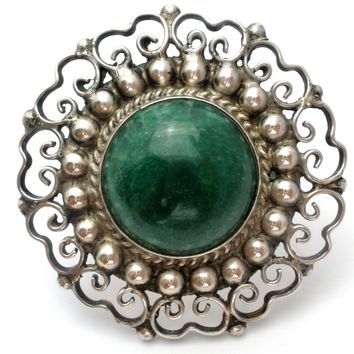 Sterling Silver Brooch with Green Turquoise Vintage