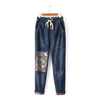 Autumn Plus Size High Waist Jeans Casual Pants Skinny Pants [8541319815]