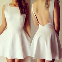 White Backless Ruffled Dress