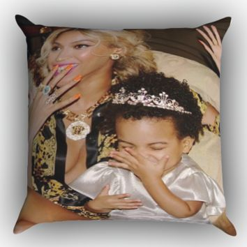 BEYONCE YONCE with Blue Ivy Cute Laughing X0991 Zippered Pillows  Covers 16x16, 18x18, 20x20 Inches