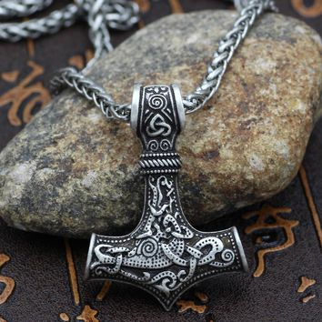Men Thor hammer Mjolnir Viking Amulet Hammer Scandinavian Pendant Norse Jewelry -Metal Chain and gift bag