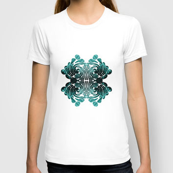 Abstract black and teal T-shirt by VanessaGF