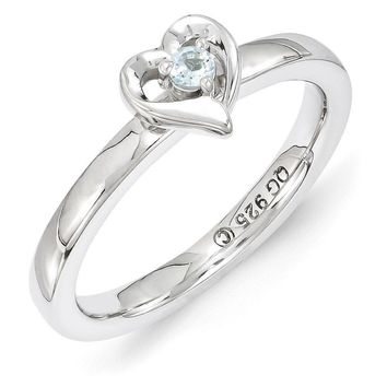 Sterling Silver Stackable Expressions Aquamarine 6mm Heart Ring