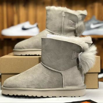 SPBEST UGG winter new lady snow boots classic novelty series bow mini ankle boots 1098360 gray