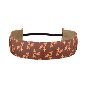 Fall Oak Leaves Acorns Maroon Wide Headband