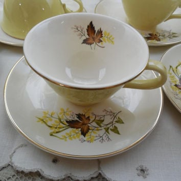 Leaf O' Gold China, Taylor Smith & T Cups and Saucers, 8 Vintage Cups and Saucers, Vintage Fall Serving, Holiday Dining, Tea and Coffee Cups
