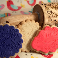 LOVE, love, LovE design, Rolling Pin - laser engraved embossing pin! Includes *BONUS* custom design display holder too!