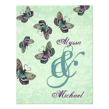Mint, Aqua and Purple Butterflies Wedding Personalized Invites from Zazzle.com