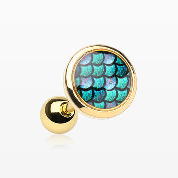 Golden Iridescent Mermaid Scales Cartilage Tragus Earring