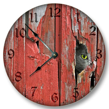 Old Red Barn Boards with Barn Cat pattern WALL CLOCK rustic cabin country wall home decor 7112
