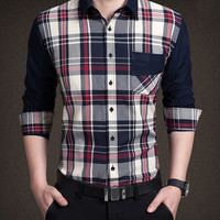 Color Block Plaid Pocket Design Shirt Collar Long Sleeve Shirt