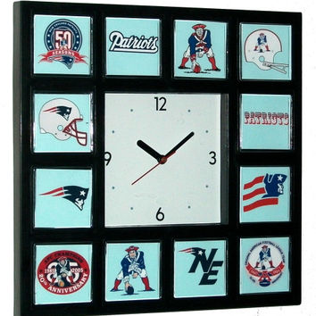 History of New England Patriots retro logo promo wall or desk clock