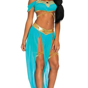 Magic Carpet Romance Aqua Blue Drape Short Sleeve Off The Shoulder Wrap Crop Top Loose Split Front Harem Pants Two Piece Jumpsuit Halloween Costume