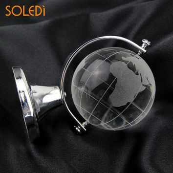 Gold Silver Crafts Art Table Ornaments Christmas Gift Crystal World Map Beautiful Round Earth Globe Cute Desk Decor Dorpshipping