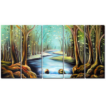 Modern Woodland Landscape Canvas Wall Art Oil Painting