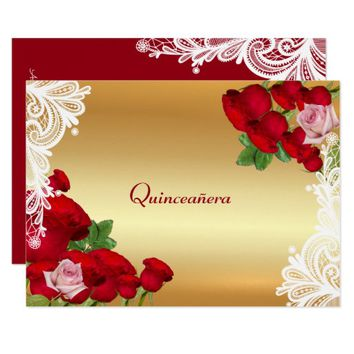 Beautiful Red Roses, Lace, Quinceanera, Invitation