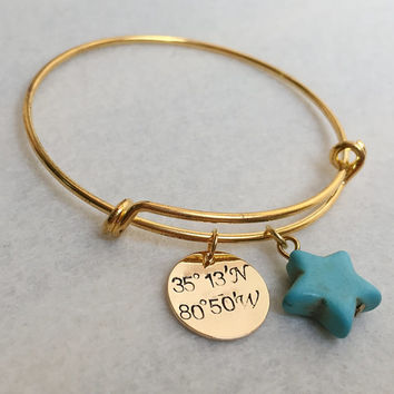Personalized bracelets, Personalized jewelry, gold bracelet for girlfriend, wife, mom, Coordinates bracelet, Personalized Gift ideas