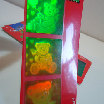 3D Hologram Teddy Bear Hearts Sticker Lot Vintage 90s Collectible Decals New In Package