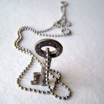 Skeleton key necklace - stainless steel ball chain - key necklace - reclaimed - boho fashion - key jewelry - vintage key necklace