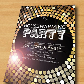 Gold Housewarming Invitation glitter New house home sweet home Invitation Card | We have moved Invitation Card Design - card  6