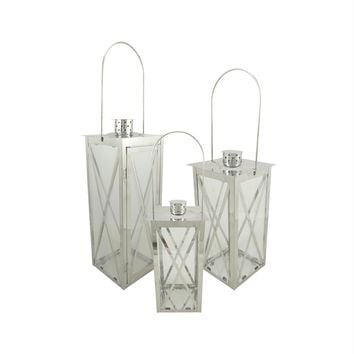 """Set of 3 Silver Stainless Steel Finish Cottage Style Pillar Candle Holder Lanterns 18"""""""