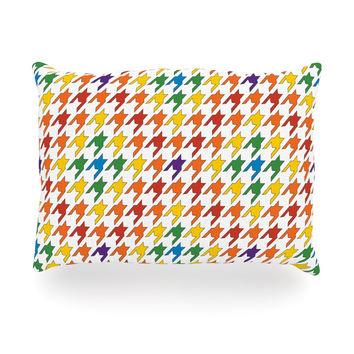 "Empire Ruhl ""Rainbow Houndstooth"" Oblong Pillow"