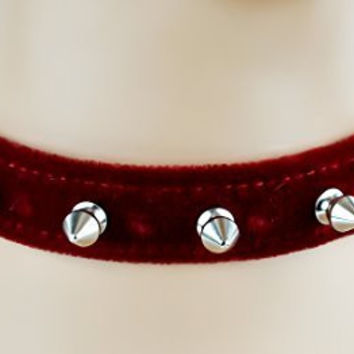 "Red Velvet Choker Necklace with 1/2"" Silver Spikes Gothic Collar"