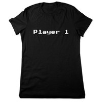 Video Game Shirt, Funny Shirt, Player 1, Funny T Shirt, Geek, 8bit Geeky T Shirt, 8 bit Video Game Tshirt, Funny Tee, Ladies Women Plus Size