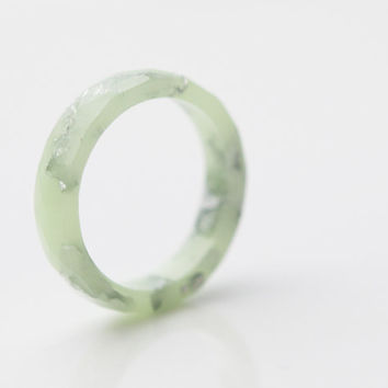 Pastel Resin Ring Lucite Green Stacking Ring Silver Flakes Faceted Ring OOAK mint green wedding jewelry