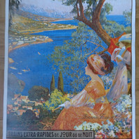 Original Vintage French Poster Cote d'Azur French Travel Poster