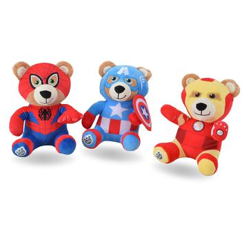 QICSYXJ Birthday Gift Stuffed Toys Supply 8inch Cute Bear Cosplay Superhero Spiderman Ironman Captain America Plush Doll