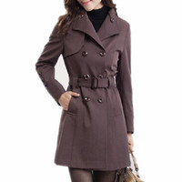 Women Trench Coat  New Spring Double Breasted Casual With Belt Casaco Feminino Windbreaker Female