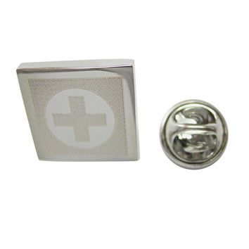 Silver Toned Etched Medical Cross Lapel Pin