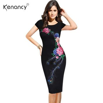 Kenancy Fashion Elegant Vintage Women Summer Dress Flower Peacock Printed Slim Party Evening Sheath O-Neck Pencil Vestidos