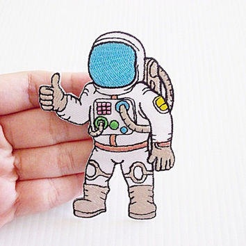 Astronaut New Iron On Patch Embroidered Applique Size 6.2cm.x8.7cm.