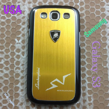 Lamborghini Samsung Galaxy S3 Case Lambo 3D Metal Logo with Cover for S3 / i9300 - F1 Yellow  Gold