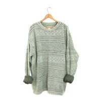 Oversized Textured Sweater Sage Green Boho Hipster Pullover Boyfriend Indie Sweater Cotton Knit Slouchy Skater Beach Sweater Large