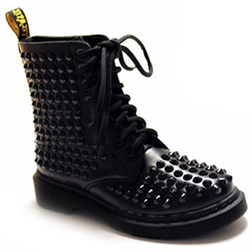 ROMWE | Riveted Black Martin Boots, The Latest Street Fashion