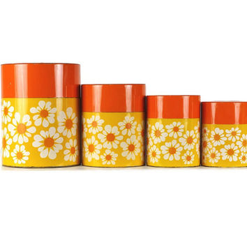 Vintage Canister Set, Metal Kitchen Canisters, Nesting Canisters, Mod Daisies, Set of Four