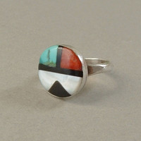 Vintage NATIVE American Sterling SUNFACE Zuni RING Inlay Mosaic Turquoise Spiny Oyster Sun Face Symbol Size 5 c.1960s